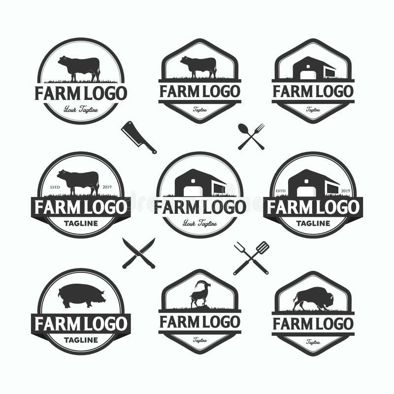 Farmers market logos templates vector objects set. Logotypes or badges design stock illustration