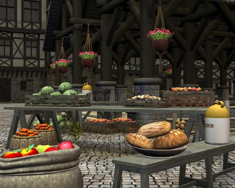 Farmers Market in a Medieval Marketplace. Farmers market with fresh seasonal fruit and vegetables in an old town square by a medieval market hall, 3d digitally stock illustration