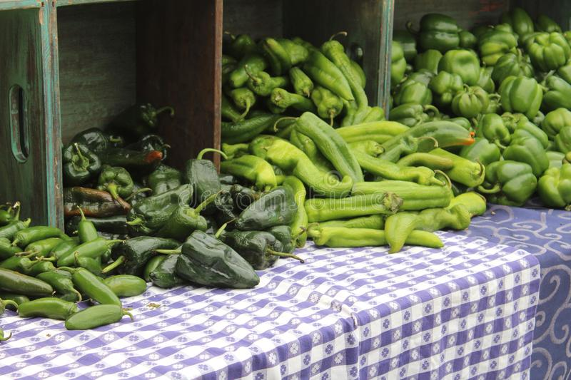 Farmers Market at Old Downtown Scottsdale, Arizona, United States. Green peppers and chilies at the Farmers Market at Old Downtown Scottsdale, Arizona, United stock photo