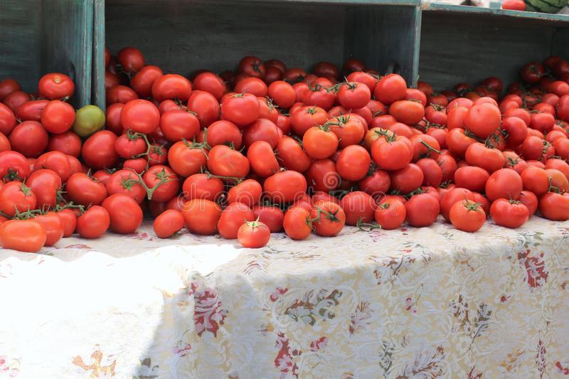 Farmers Market at Old Downtown Scottsdale, Arizona, United States. Red tomatoes at the Farmers Market at Old Downtown Scottsdale, Arizona, United States stock photography