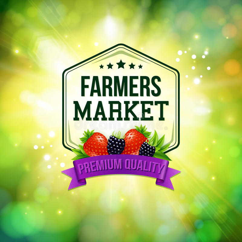 Farmers market poster. Blurred background with shining sun. Typo. Graphy design. Vector illustration royalty free illustration