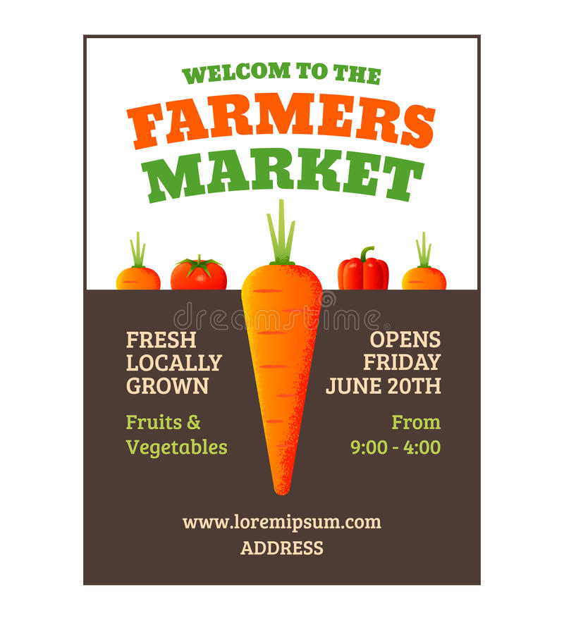 Farmers market poster. Template with vegetables. Vector illustration royalty free illustration