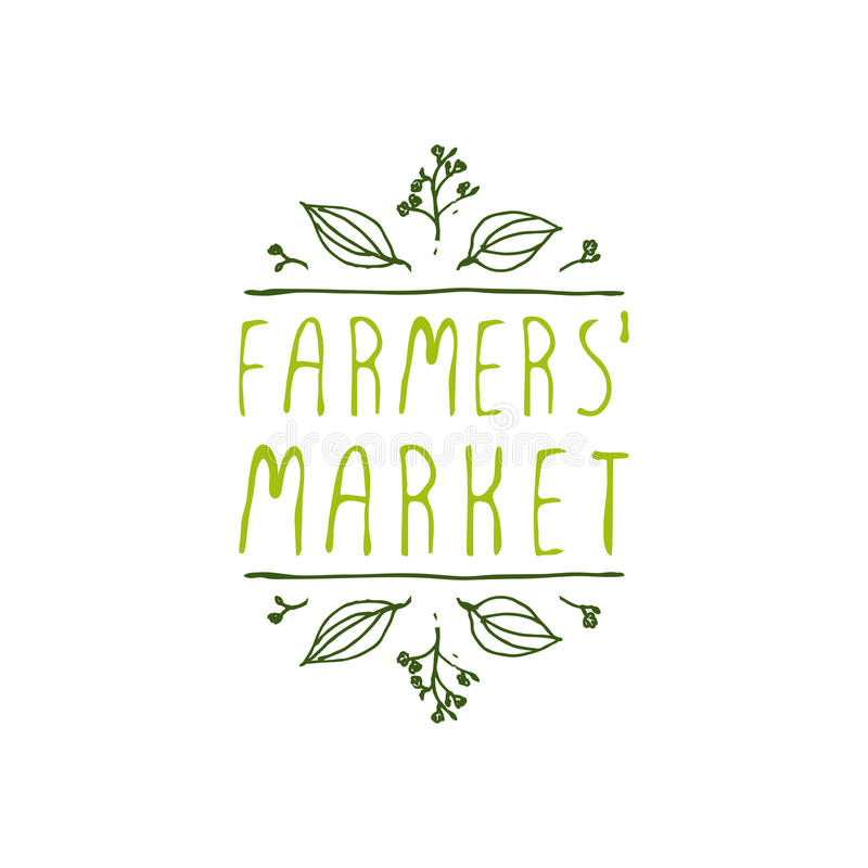 Farmers Market - product label on white background. Hand-sketched typographic element. Farmers Market - product label on white background. Suitable for ads stock illustration