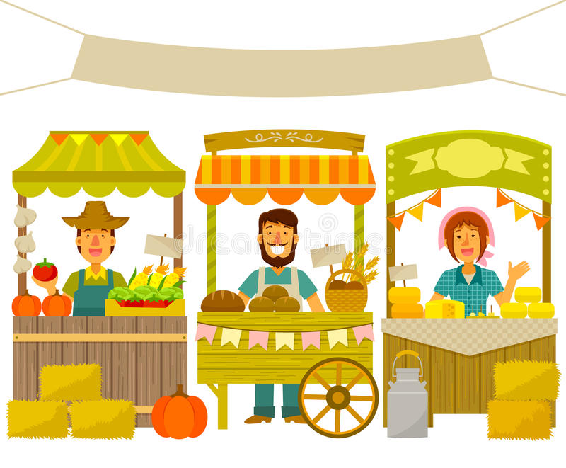 Farmers market. Farmers selling their products on wooden stalls stock illustration