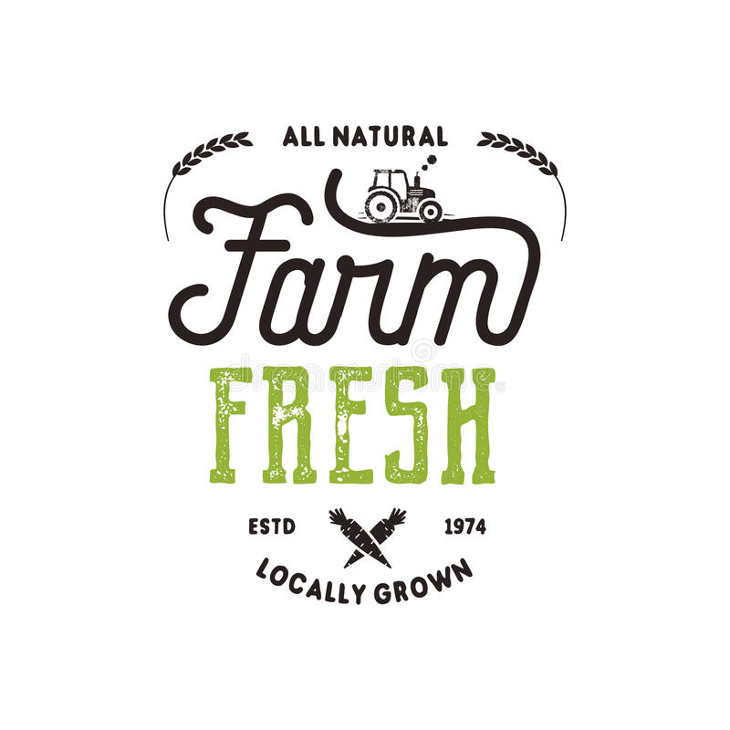 Farmers Market Typography Badge. Fresh And Local Product Logo ...