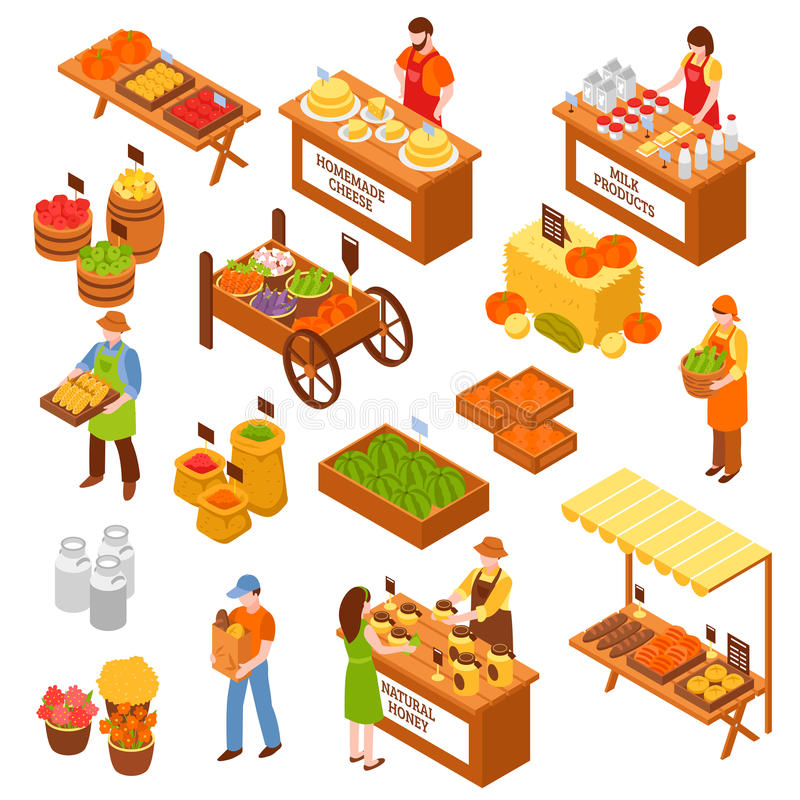 Farmers Marketplace Isometric Set. Marketplace isometric set of food counters with farmers selling milk products natural honey homemade cheese fruits and vector illustration