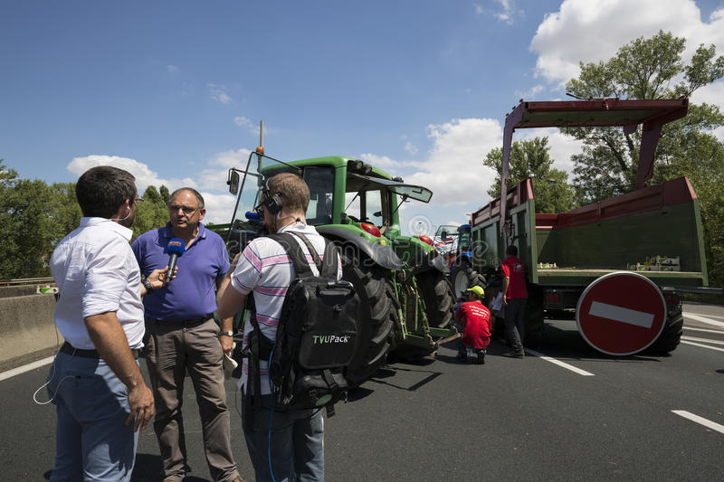 Farmers protest. LYON, FRANCE - JULY 23, 2015 : French farmers protest of July 23, 2015 in Lyon. Farmers are demanding better purchase price of their products royalty free stock photos