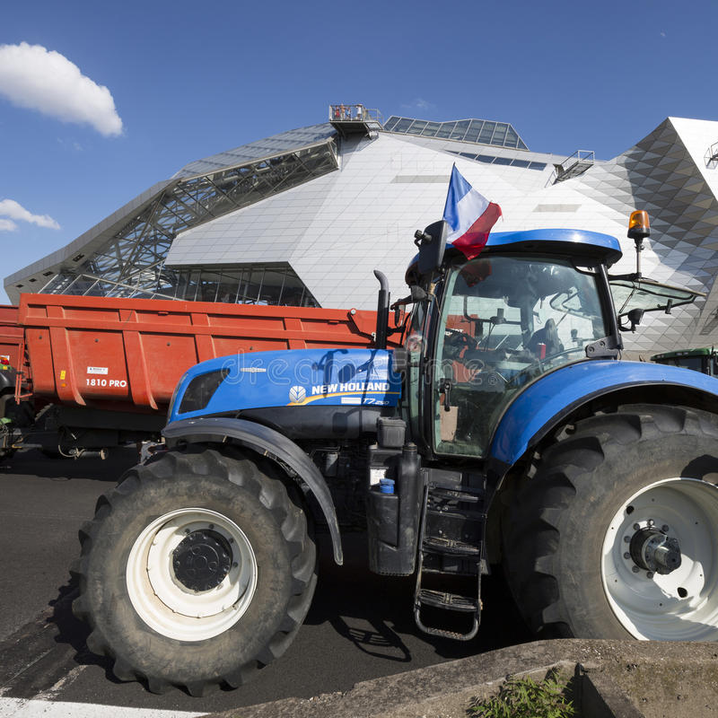 Farmers protest. LYON, FRANCE - JULY 23, 2015 : French farmers protest of July 23, 2015 in Lyon. Farmers are demanding better purchase price of their products stock images