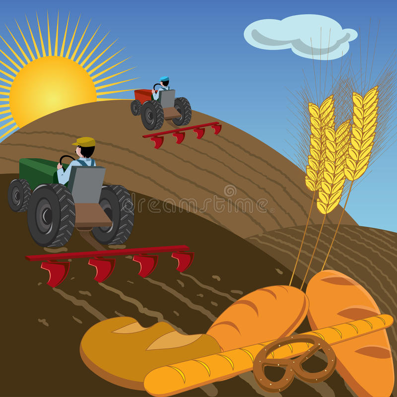 Farmers on tractors plowing the land. Farmers plowing the land with tractors, with bread and wheat ears in foreground royalty free illustration