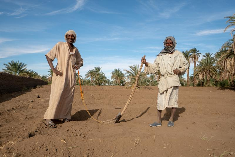 Nubian farmers posing for a picture on their field in Abri, Sudan - Nov 2018. These Farmers in traditional clothing were keen on posing for a Picture stock photography