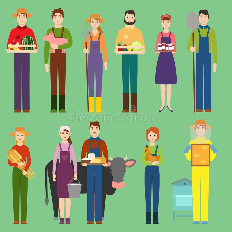 Farmers vector people man and woman organic village natural product food and animals. Summer farmers character royalty free illustration