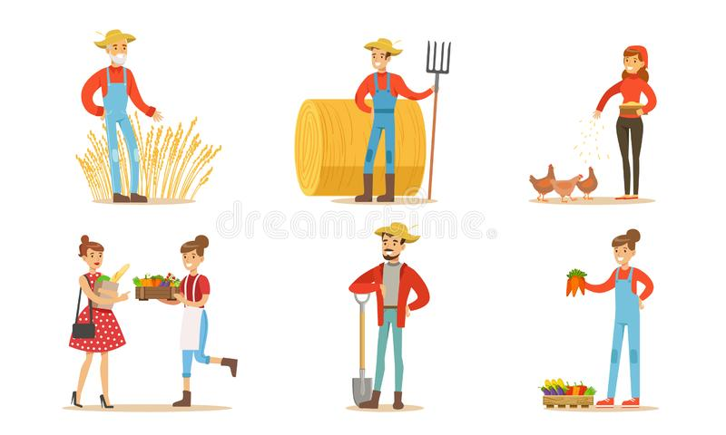 Farmers Working at Farm or Garden Set, Men and Women Caring for Animals and Selling Organic Vegetables on Farm Market vector illustration