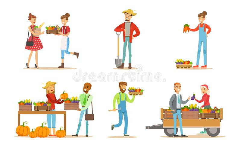 Farmers Working at Farm or Garden Set, Men and Women Harvesting Crops and Selling Organic Vegetables on Farm Market vector illustration