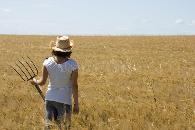 Farmgirl overziet een gebied royalty-vrije stock foto's