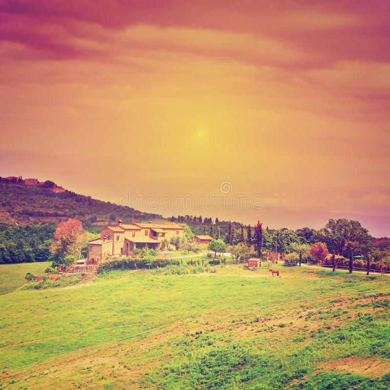 Farmhouse. Big Farmhouse Surrounded by Fields in Tuscany at Sunset, Instagram Effect royalty free stock images