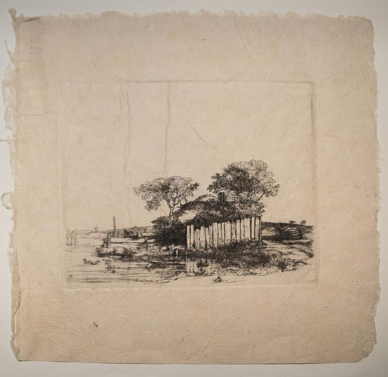 Farmhouse with fence 1648 by Rembrandt. Farmhouse with fence 1648. This is an impression from a reproduction plate. An graphic artwork make by Rembrandt vector illustration