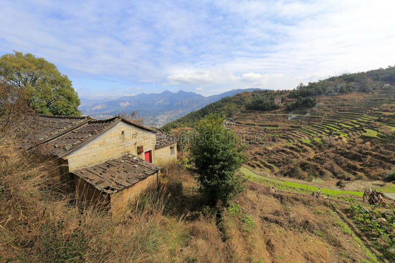Farmhouse on the mountain. Dingcuncun ( top village ) located in the mountains of northern tong'an district, xiamen city, china. the main crops are tea. recently royalty free stock photography