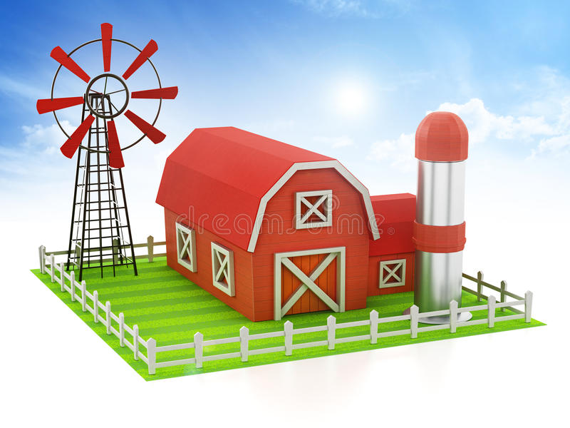 Farmhouse with windmill and silo standing on green area. 3D illustration royalty free illustration