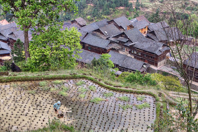 Farmhouses near Zhaoxing, rural region of south-western China. stock image