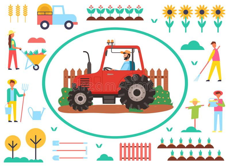 Farming Agricultural Machinery Tractor in Frame. Framed tractor vector, agriculture and husbandry flat style. Sunflowers and scarecrow, working man with tools vector illustration