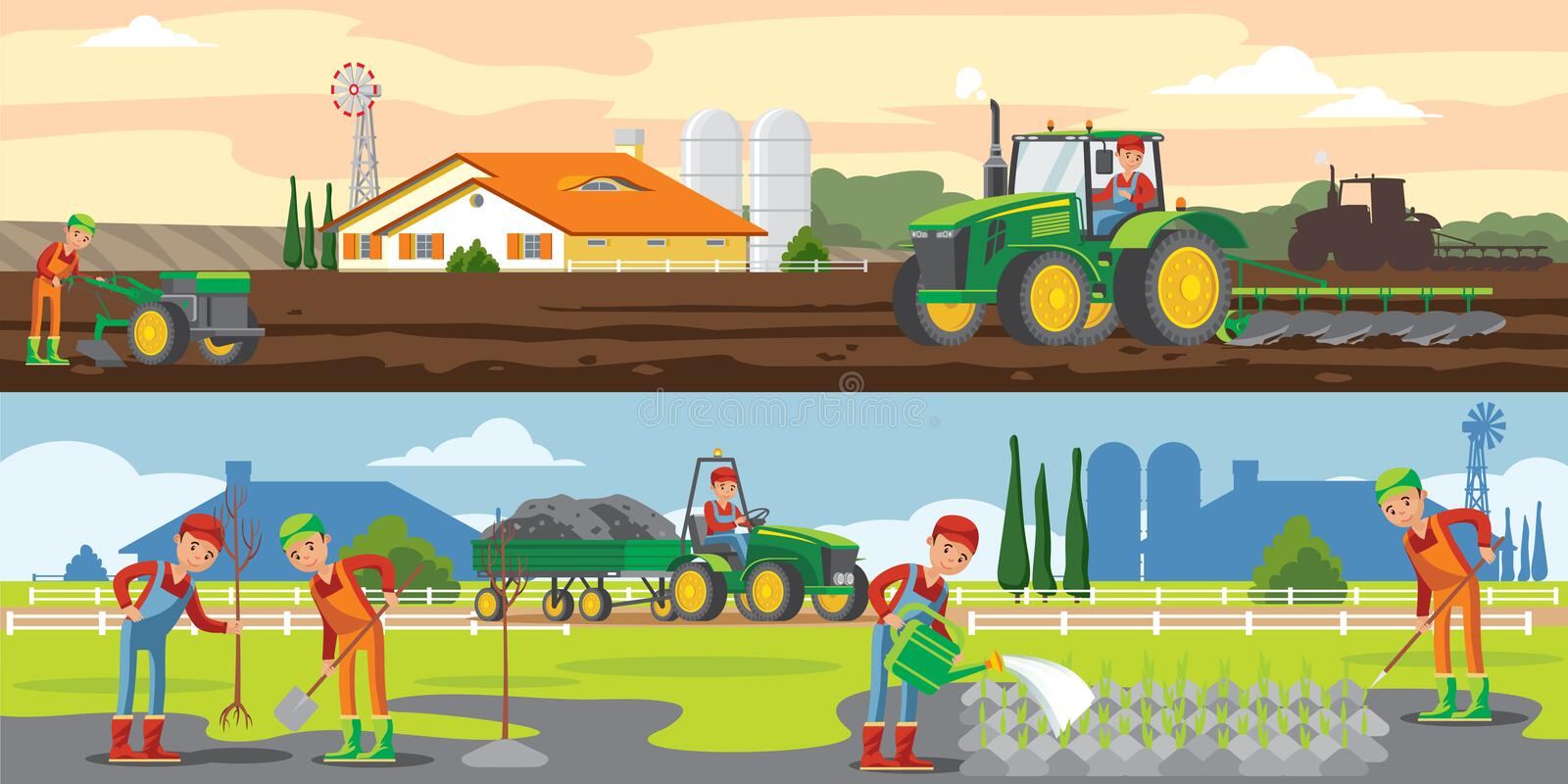 Farming And Agriculture Horizontal Banners stock illustration