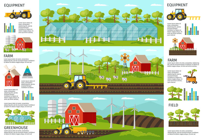 Farming And Agriculture Infographic Banners. Farming and agriculture infographic horizontal banners with vehicles equipment harvesting greenhouse and royalty free illustration