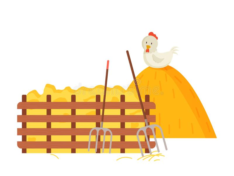 Hayfork and Hay Bale, Chicken and Wooden Fence. Farming atmosphere vector, farm with hayfork tool and hay bale flat style. Dried grass and wooden fence, chicken stock illustration