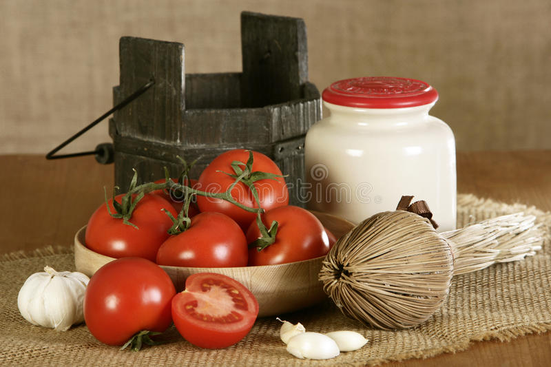 Farming bio products, tomatoes stock image