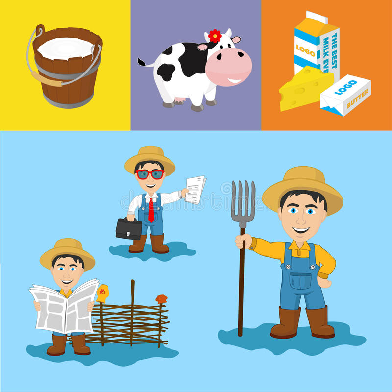 Farming & Dairy Illustrations. A set of illustrations on farming and dairy industry featuring a farmer with a pitchfork, a farmer reading a newspaper and a vector illustration