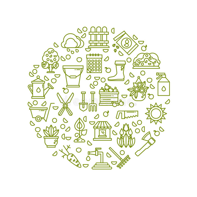 Farming equipment, planting, flowers, garden line vector icons royalty free illustration