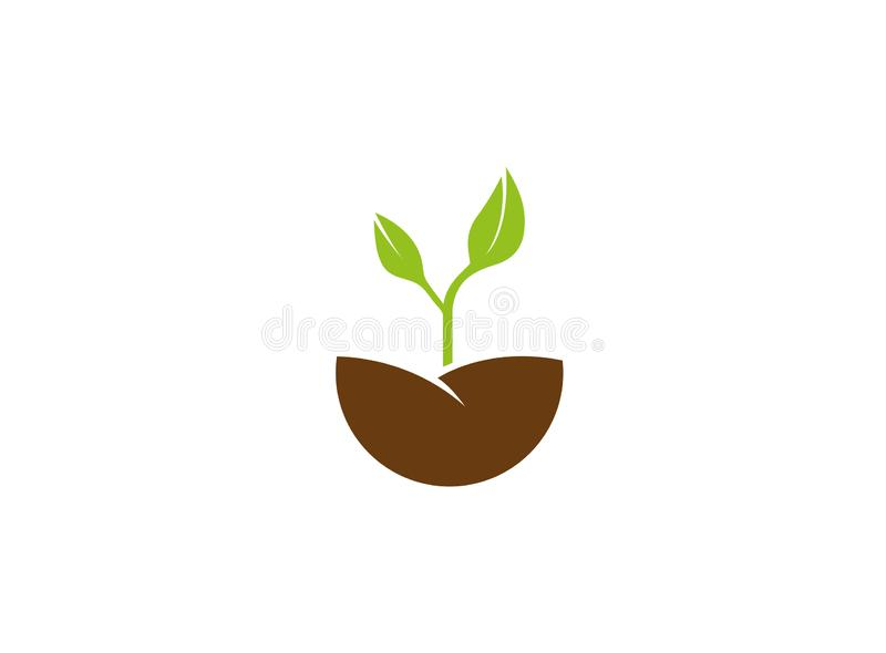 Farming growing Plants with leaves for logo. Esign illustration, natural icon stock illustration