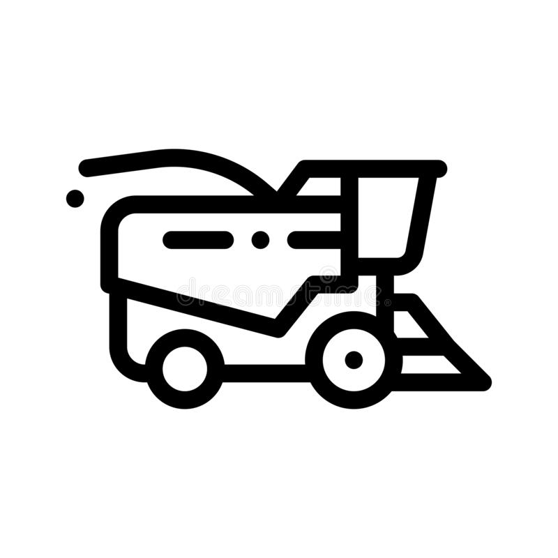 Farming Harvester Vehicle Vector Thin Line Icon vector illustration