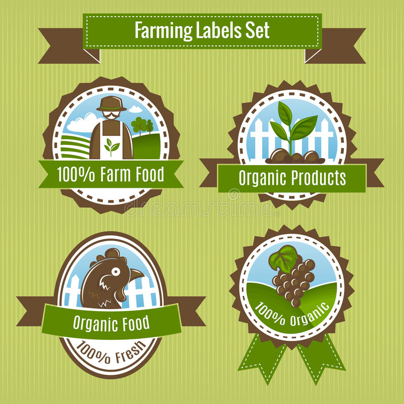 Farming harvesting and agriculture badges or labels set. Isolated vector illustration stock illustration