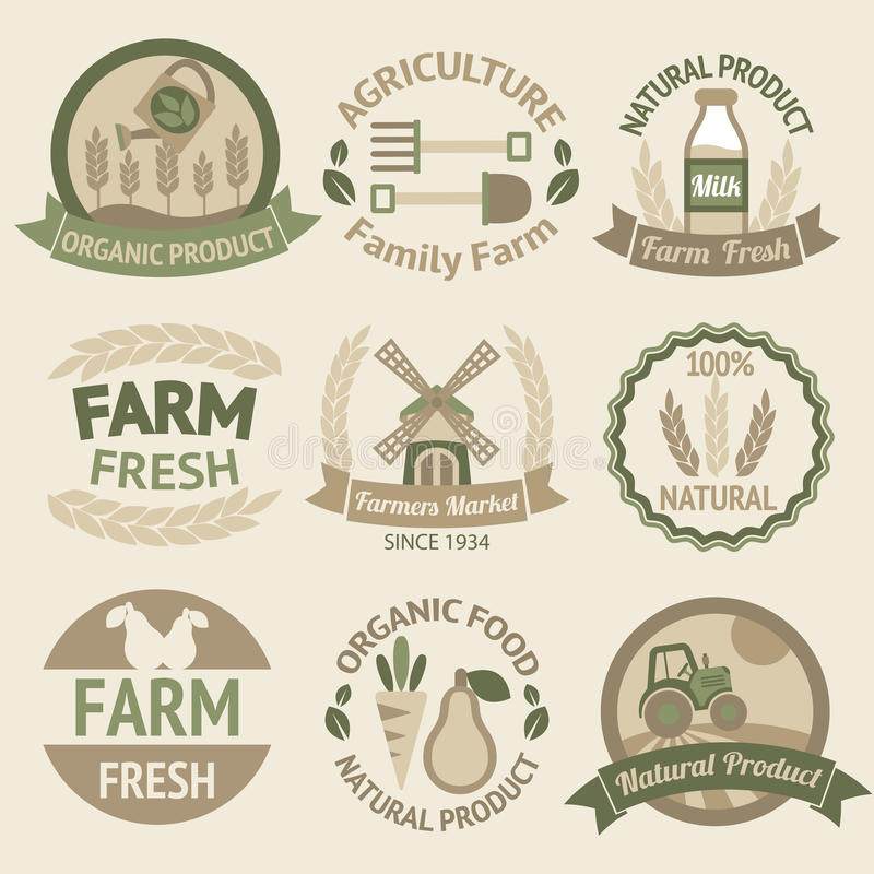 Farming harvesting and agriculture labels. Farming harvesting and agriculture badges or labels retro vintage collection vector illustration vector illustration