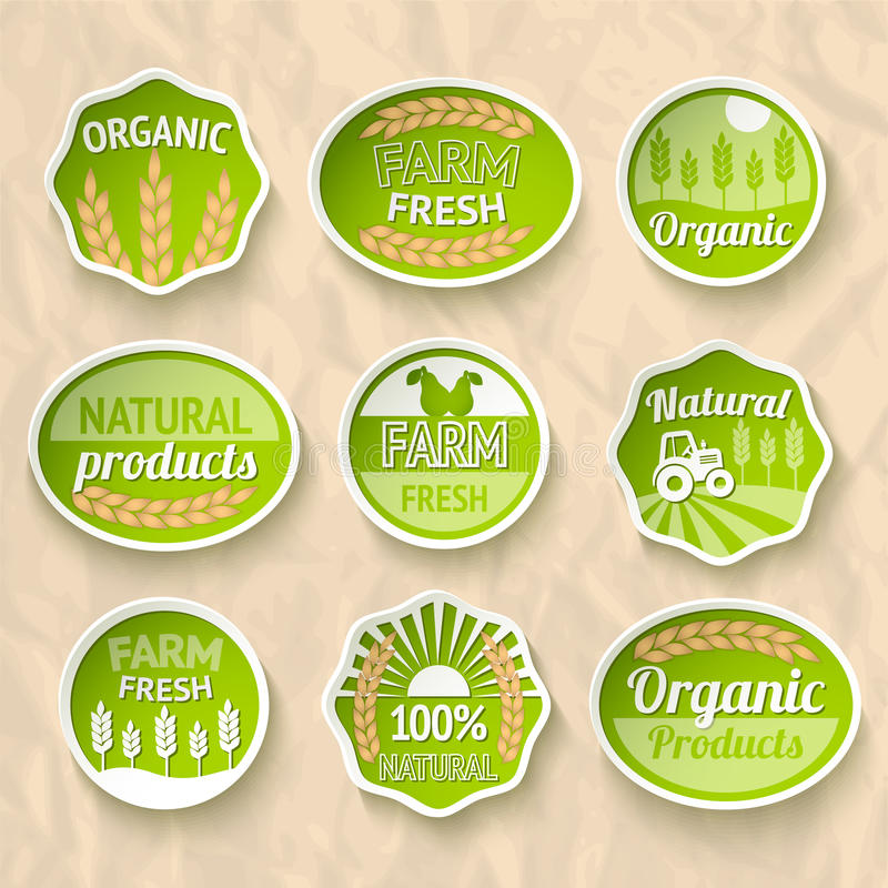 Farming harvesting and agriculture stickers. Set of natural organic fruits and vegetables vector illustration stock illustration