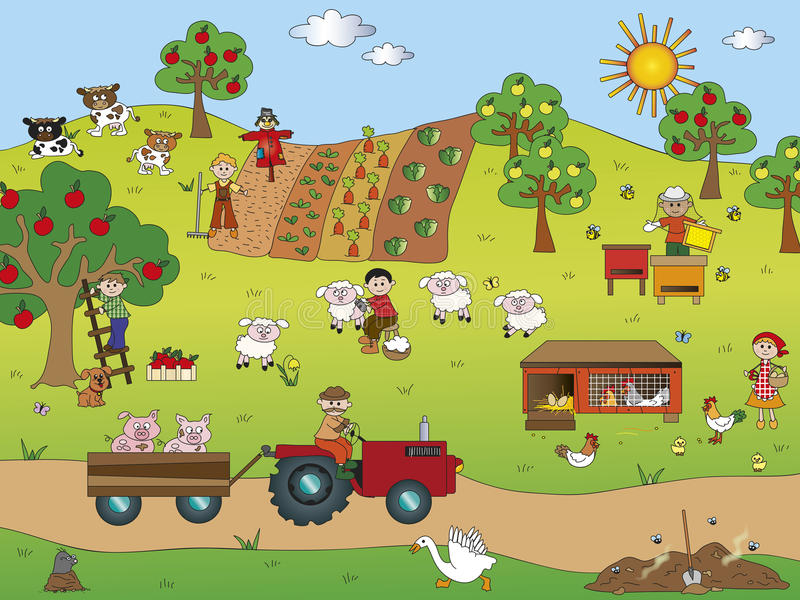 Farming. Illustration of country landscape with farm animals stock illustration
