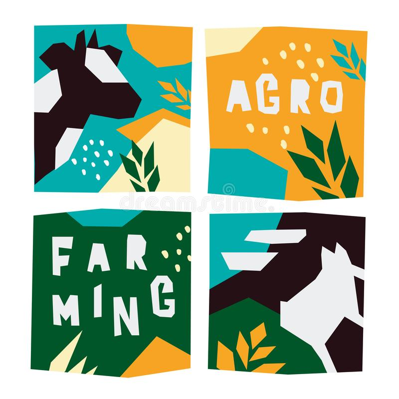 Farming and argo illustrations with animals. Set of farming icons. Vector illustrations countryside with cow and pig. Templates for booklet or print design with vector illustration