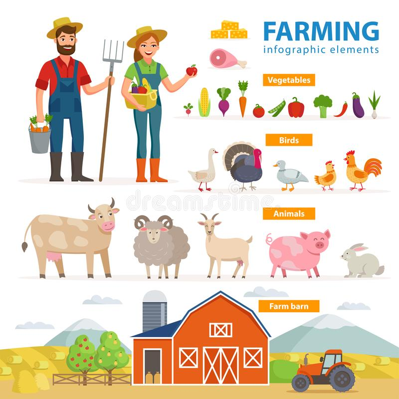 Farming infographic elements. Two farmers - man and woman, farm animals, equipment, barn, tractor, landscape large set vector illustration