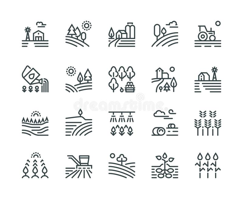 Farming landscape line icons. Rural houses, planting vegetables and wheat fields, cultivated crops. Agriculture vector illustration