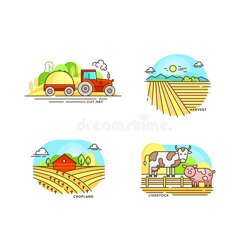 Farming logo collection in line design. Farm landscapes, barn, tractor, cropfield vector flat illustration isolated on royalty free illustration