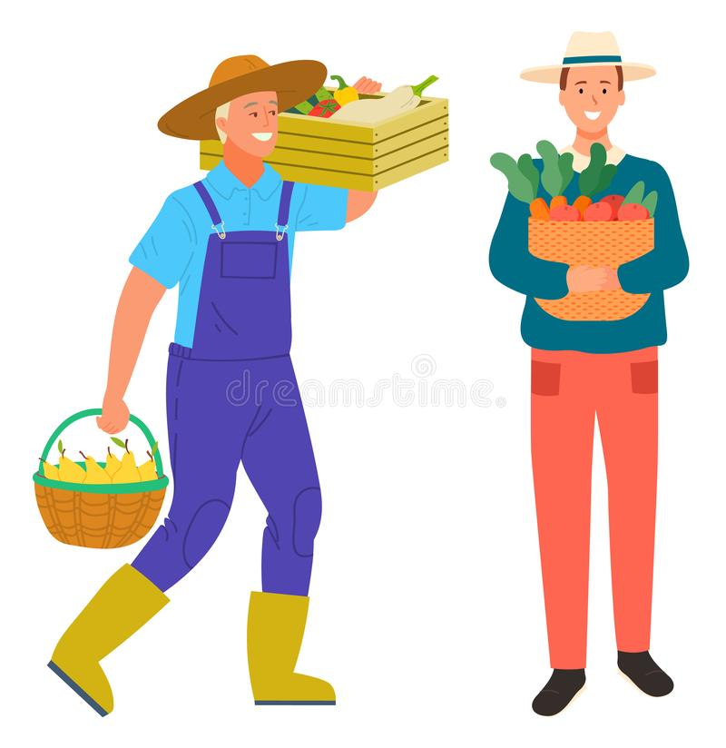 Farming Man Carrying Box with Vegetables Harvest stock illustration
