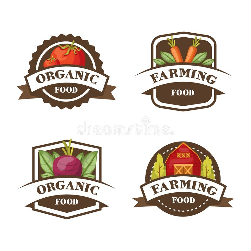 Farming Organic Food Emblems. Four colorful emblems set with carrot tomato beetroot and warehouse symbols and editable captions vector illustration royalty free illustration