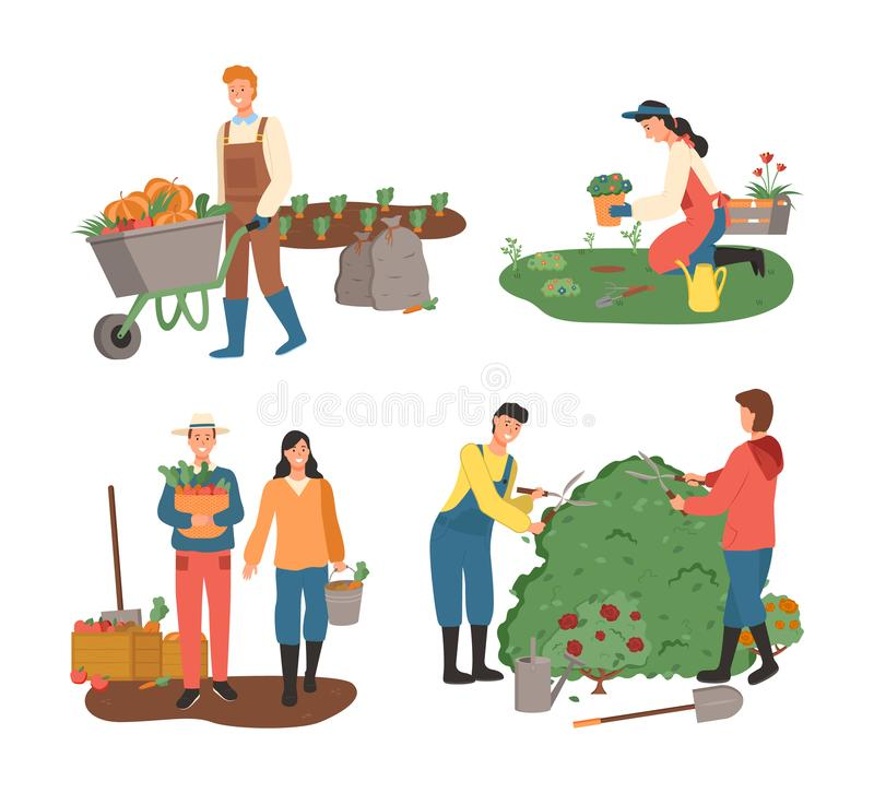 Farming People Planting and Harvesting Agriculture vector illustration