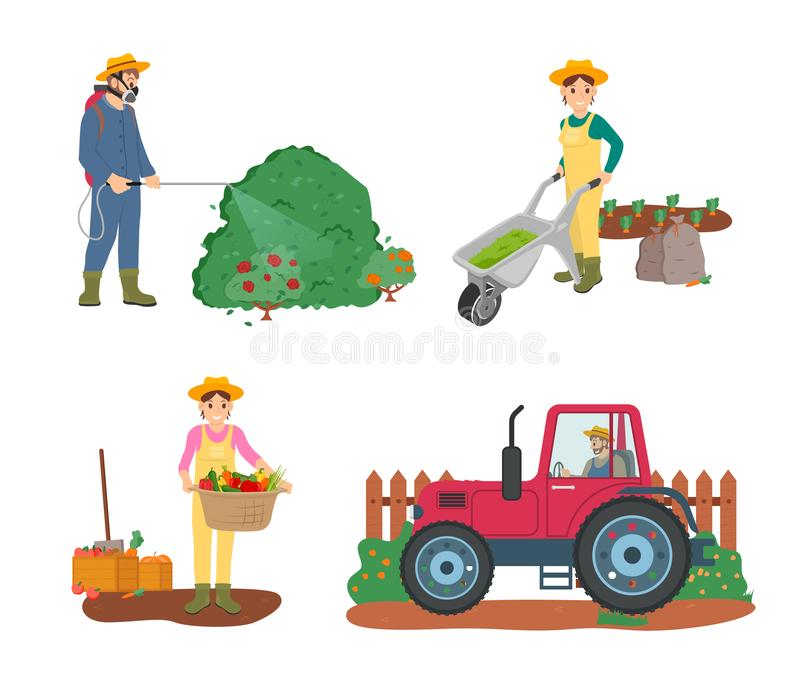 Farming People Tractor Driver and Woman Harvesting. Farming people vector, man driving tractor working on land, woman holding basket filled with fruits and vector illustration