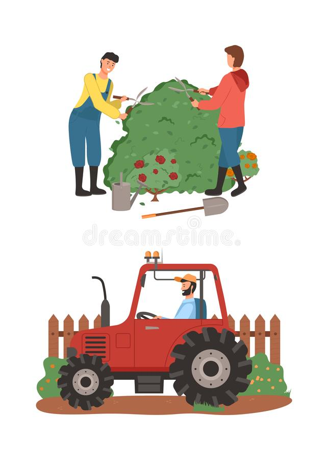 Farming People, Tractor Driver and Gardeners Set. Farming people vector, man and woman cutting bushes making shape, tractor driver riding automobile for vector illustration