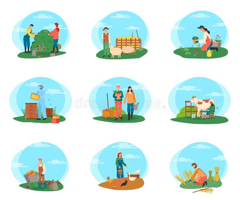 Farming People Working on Field, Gardening Set royalty free illustration