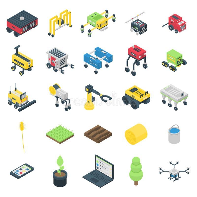 Farming robot icons set, isometric style stock illustration