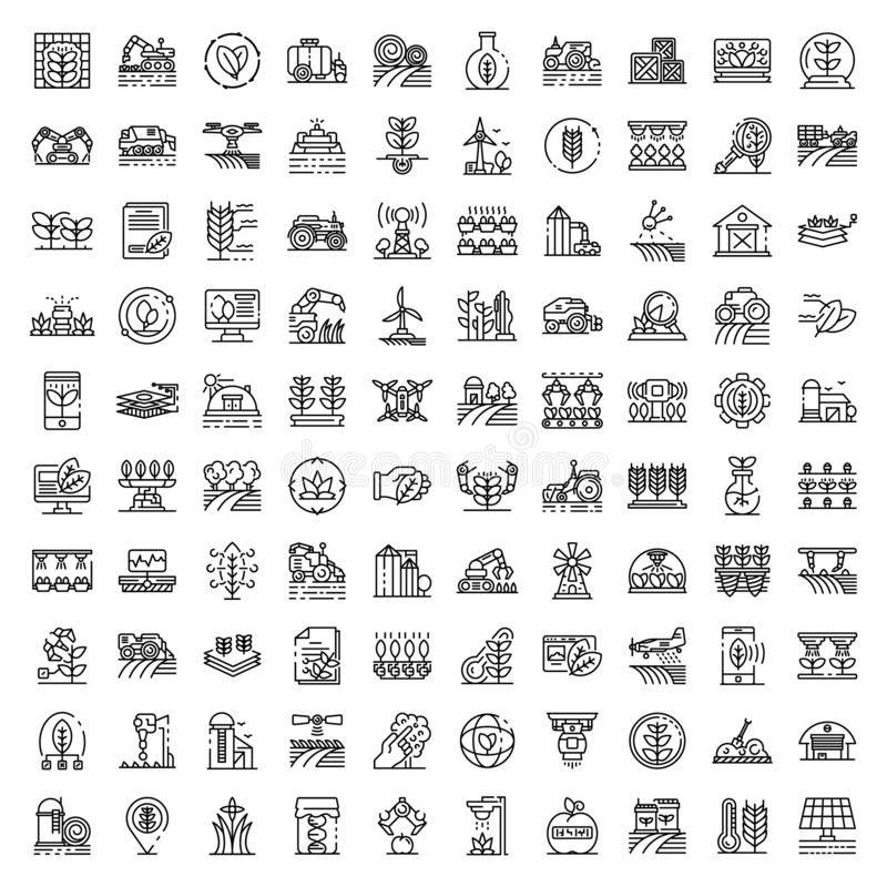 Farming robot icons set, outline style royalty free stock photography