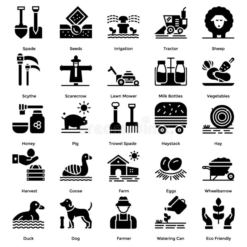 Farming Solid Icons Pack royalty free illustration