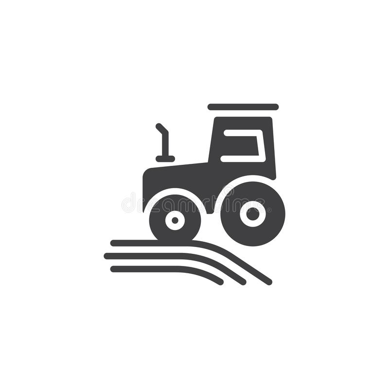Farming tractor vector icon. Filled flat sign for mobile concept and web design. Tractor on field glyph icon. Agriculture, farming symbol, logo illustration stock illustration